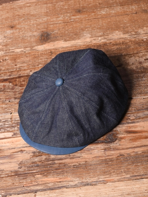 CALEE  「INDIGO LEATHER / DENIM CASQUETTE」 キャスケット