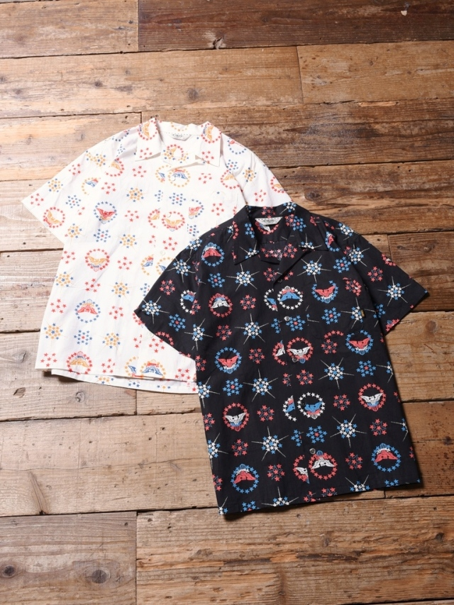 CALEE  「 ALLOVER NATIVE EAGLE PATTERN S/S SHIRT 」    オープンカラーシャツ