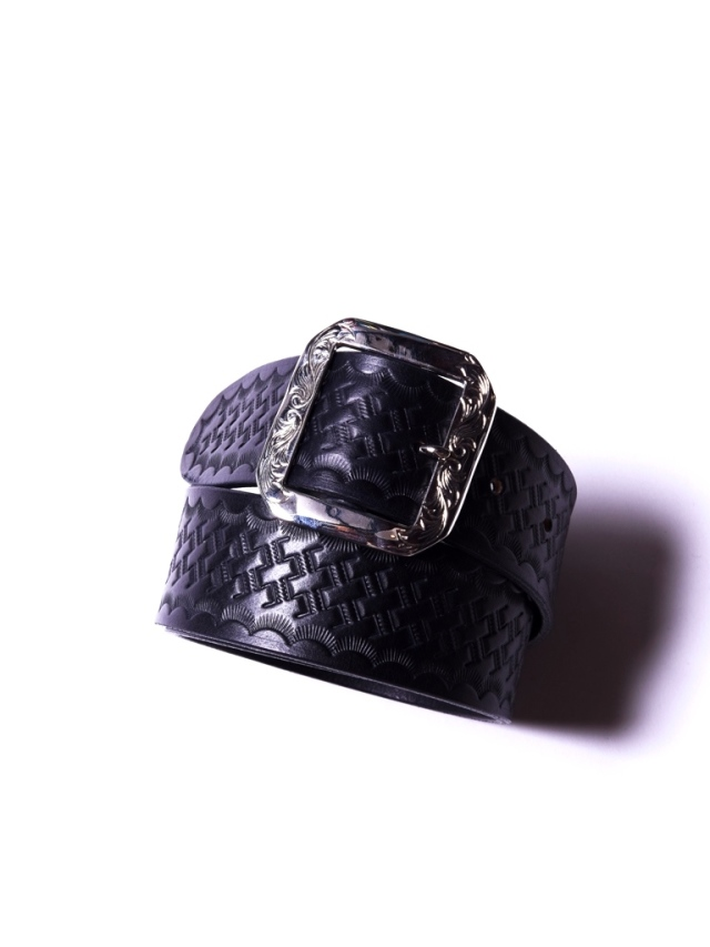 CALEE   「EMBOSSING LEATHER BUCKLE BELT」  レザーベルト