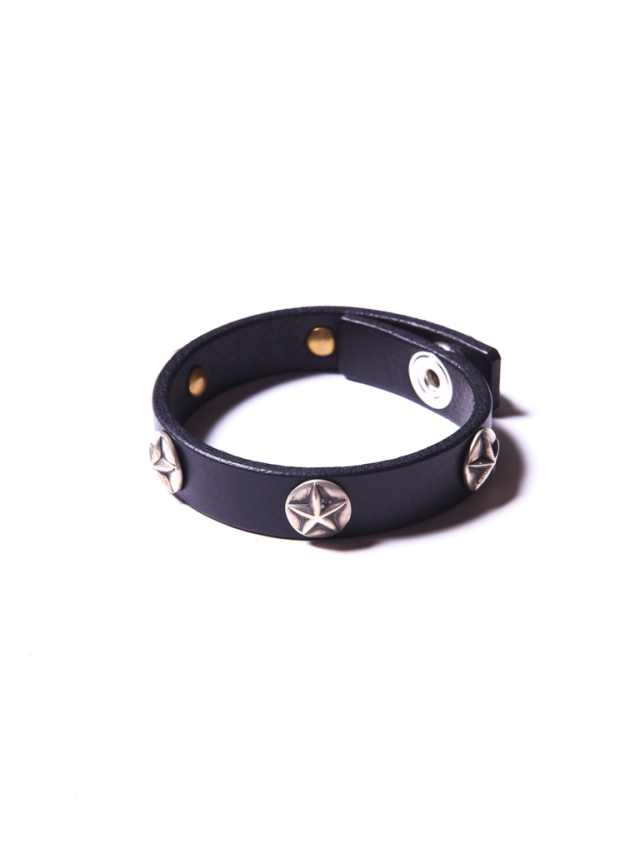 CALEE    「SILVER STAR CONCHO LEATHER BRACELET」  スターコンチョ レザーブレスレット