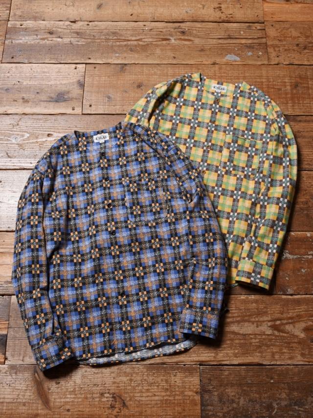 CALEE  「L/S NO COLLAR CHECK SHIRT」 ノーカラーチェックシャツ