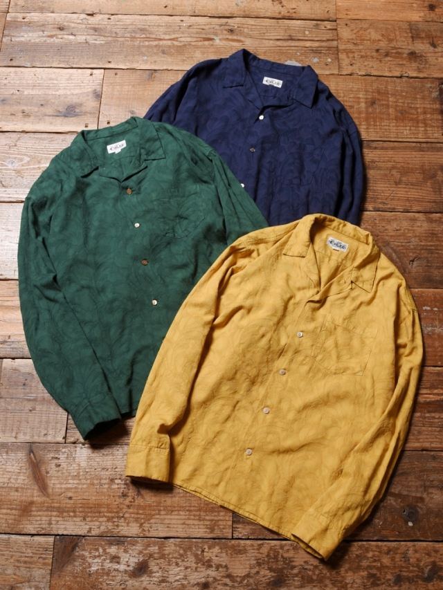 CALEE  「JACQUARD FEATHER PATTERN L/S SHIRT」 オープンカラーシャツ