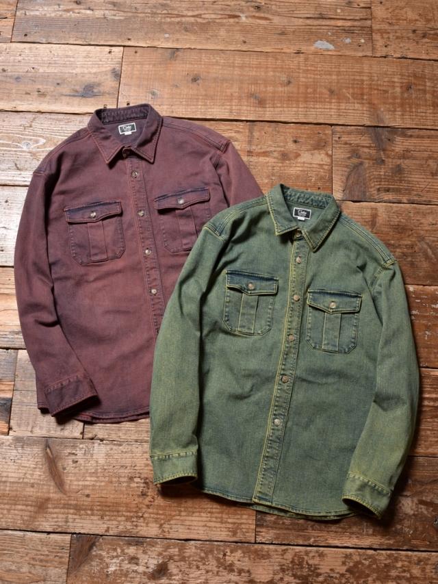 CALEE  「USED L/S COLOR DENIM SHIRT」 USED加工 カラーデニムシャツ