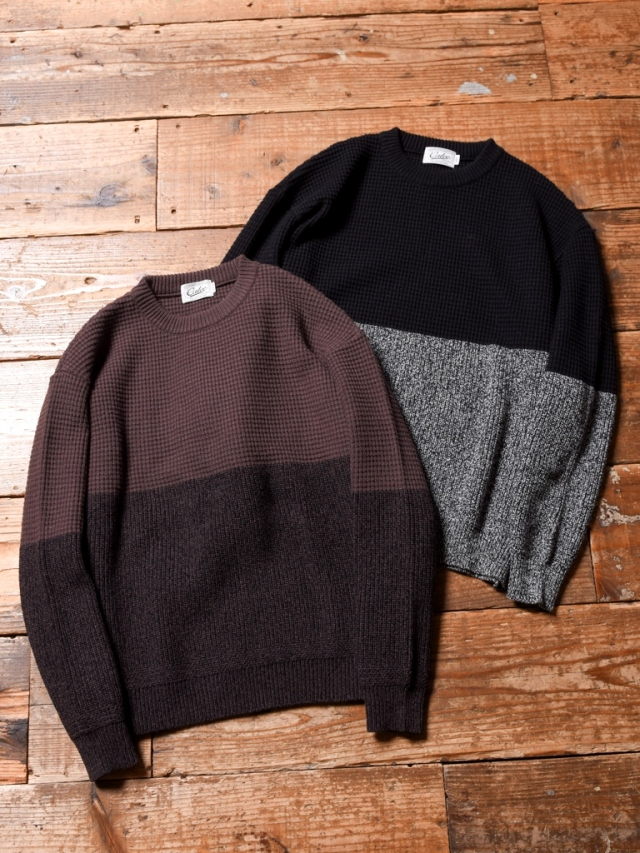 CALEE  「TWO TONE CREW NECK KNIT SWEATER」 クルーネックニットセーター