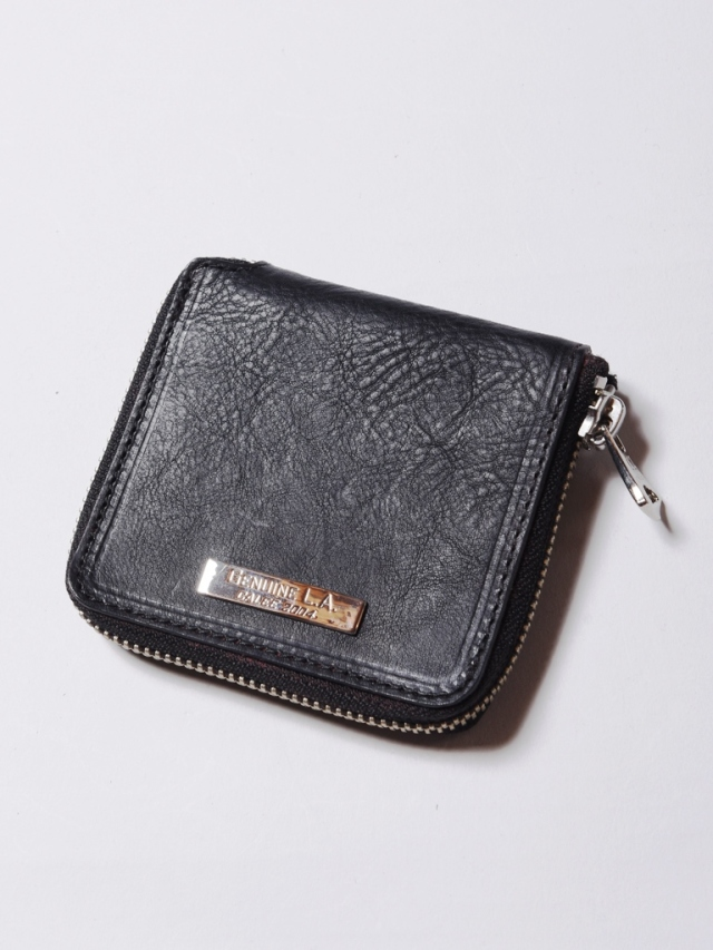 CALEE  「SILVER PLATE ROUND ZIP LEATHER SHORT WALLET」 ラウンドジップ レザーショートウォレット