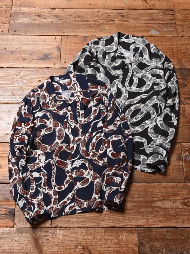 CALEE  「SNAKE PATTERN L/S SHIRT」    スネークパターン オープンカラーシャツ
