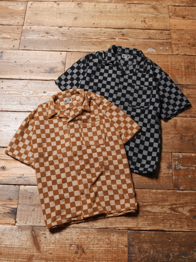 CALEE  「JACQUARD PILE S/S CHECKER PATTERN SHIRT 」    ジャガードパイルシャツ
