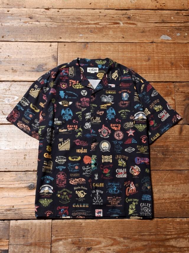 CALEE  「ALLOVER ARCHIVE LOGO PATTERN S/S SHIRT」    アーカイブロゴ オープンカラーシャツ