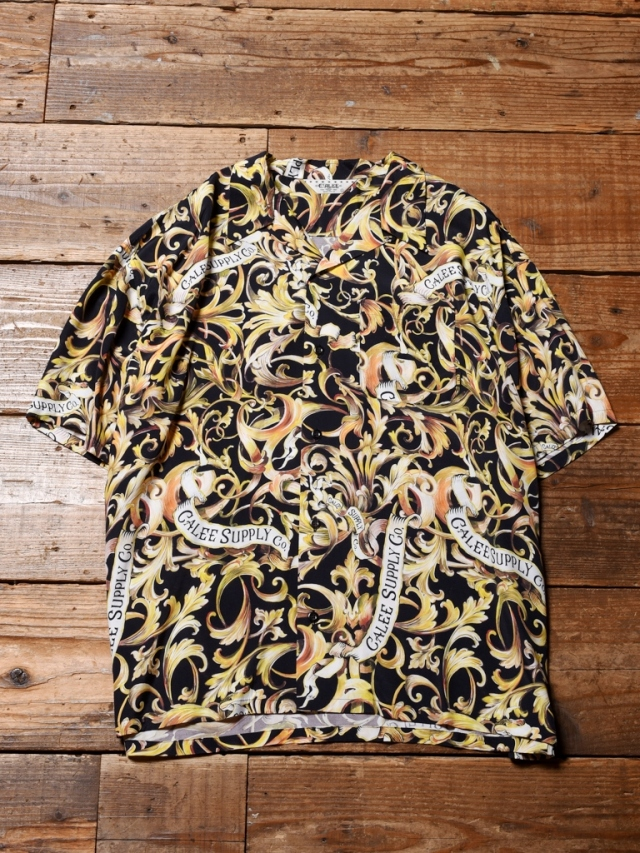 CALEE  「ALLOVER LEAF PATTERN S/S SHIRT」    オープンカラーシャツ