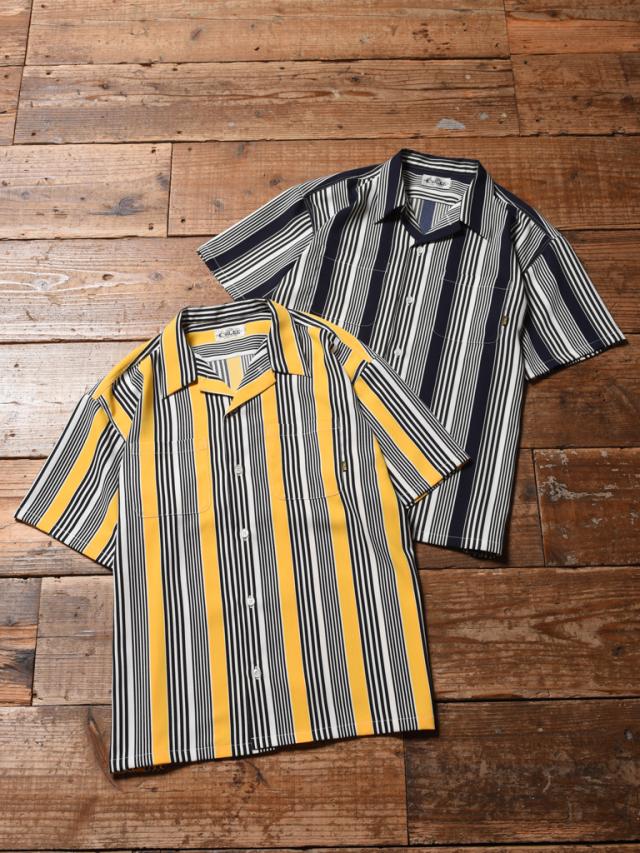 CALEE  「S/S STRIPE SHIRT」   ストライプ オープンカラーシャツ
