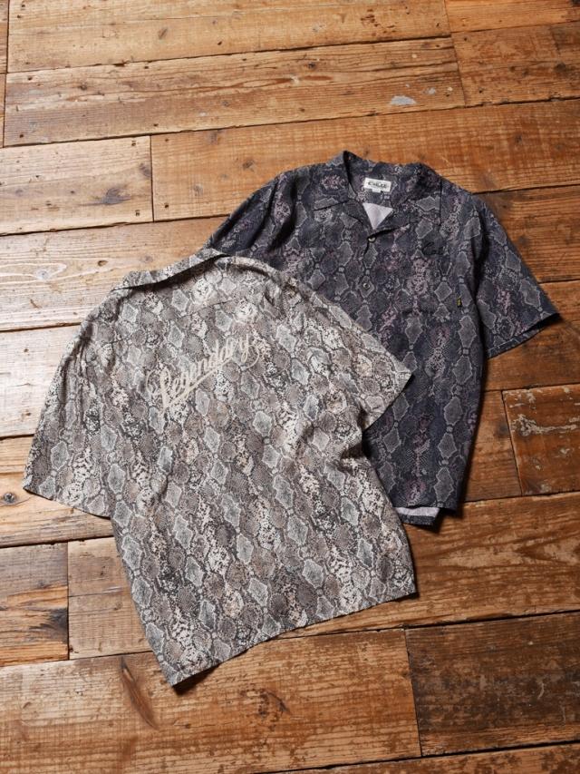 CALEE  「PYTHON PATTERN S/S SHIRT」    オープンカラーシャツ