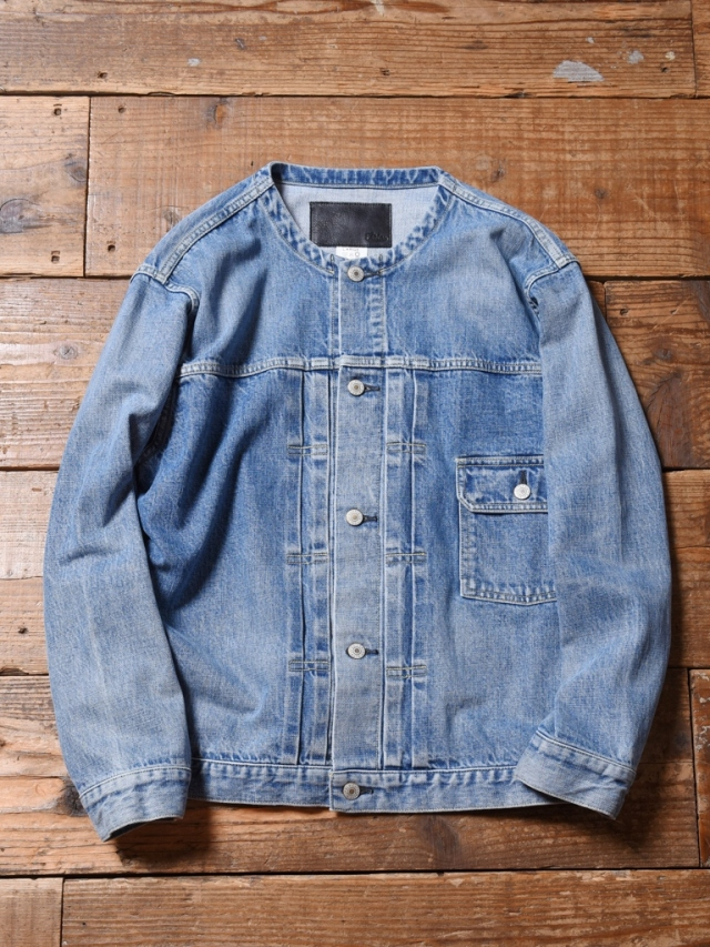 CALEE  「1ST TYPE NO COLLAR USED DENIM JACKET」  ノーカラーUSED加工デニムジャケット