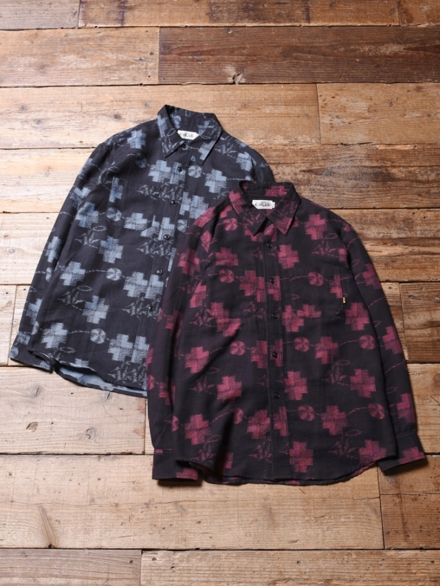 CALEE  「 JACUARD L/S DENIM SHIRT 」  レギュラーカラージャガードシャツ