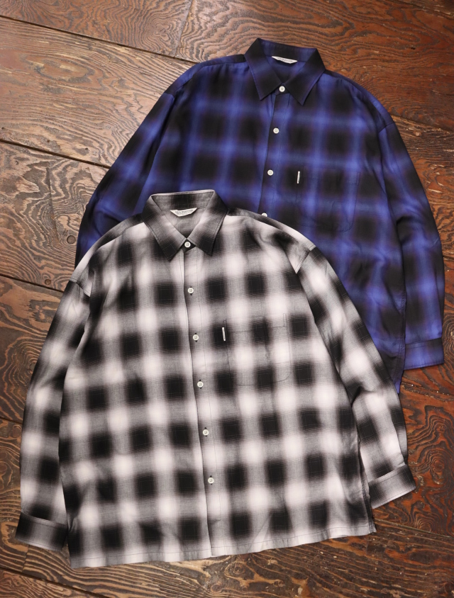 COOTIE  「Ombre Check L/S Shirt」 レギュラーカラーチェックシャツ