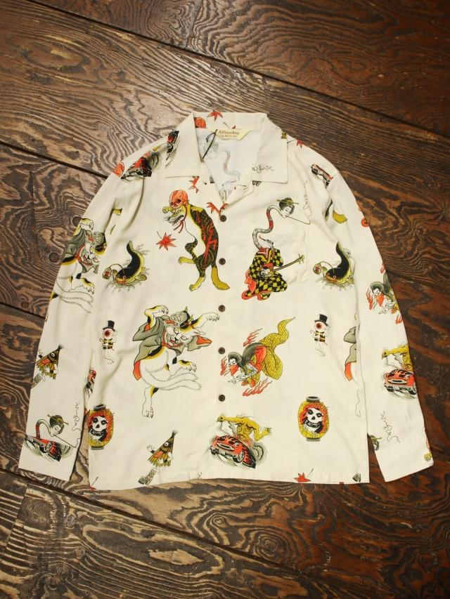 SOFTMACHINE  「GHOST LAND SHIRTS L/S」オープンカラー レーヨンシャツ