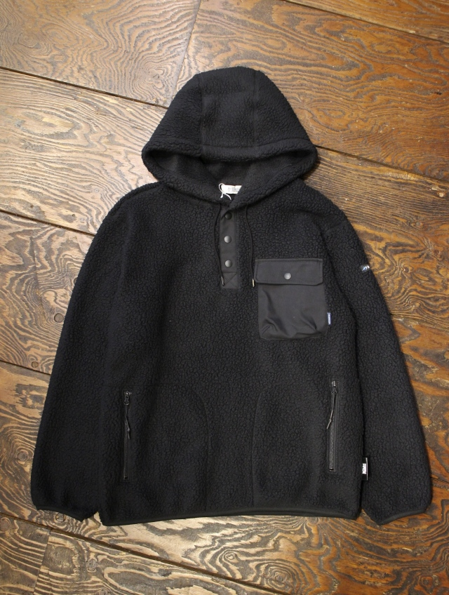 RADIALL  「SMOKEY CAMPER - HOODED SHIRTL/S」  フリースプルオーバーパーカー