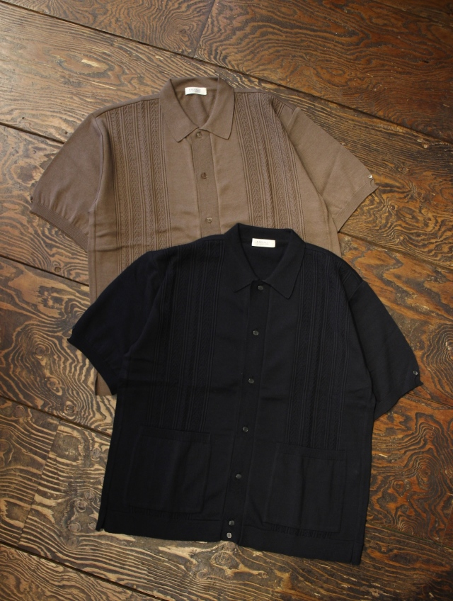RADIALL 「AL - OPEN COLLARED SWEATER S/S 」 オープンカラーニットシャツ