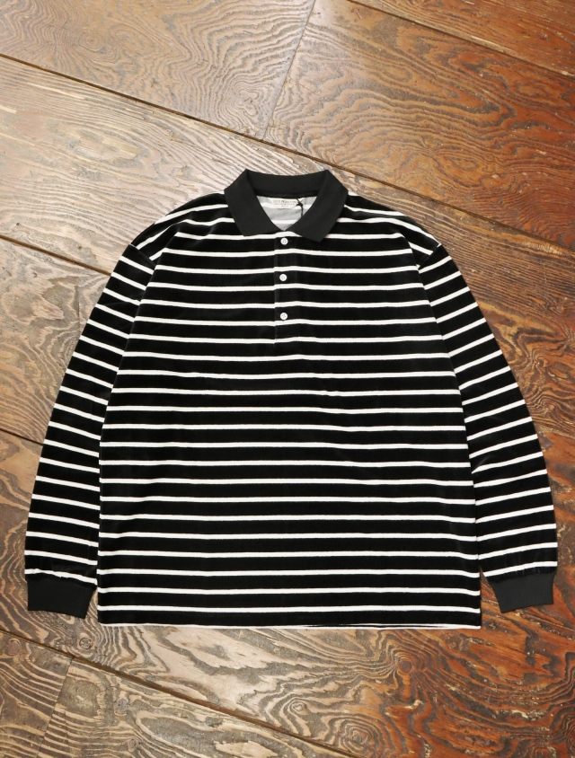 COOTIE  「 Velour Border L/S Polo 」 ベロアボーダー ポロシャツ