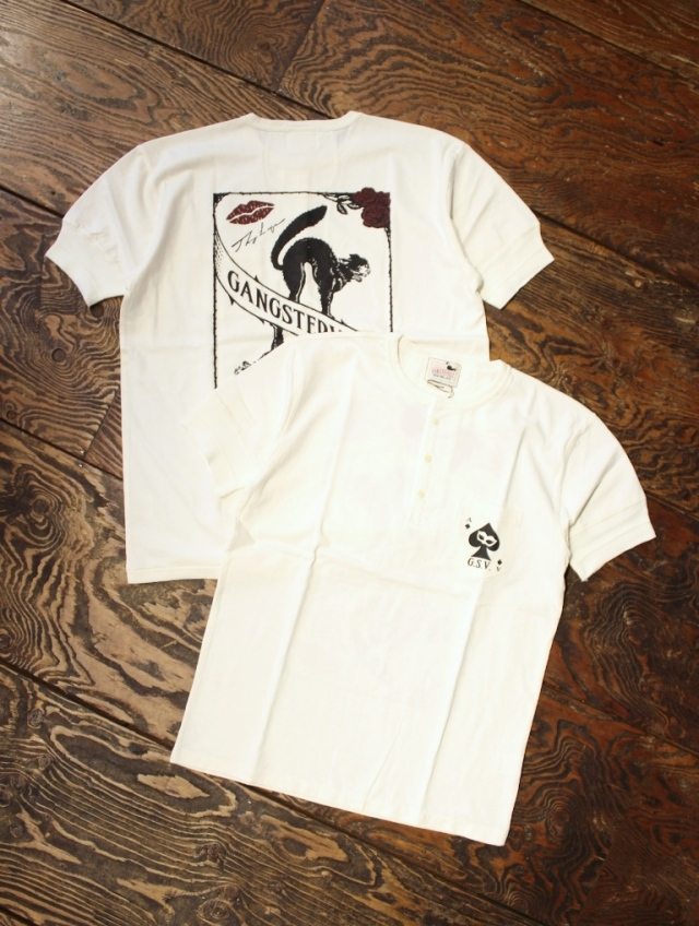GANGSTERVILLE   「THUG CAT - S/S HENREY T-SHIRTS」  ポケットヘンリーネックティーシャツ