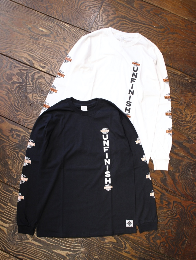 UNFINISH  「BAR & SHIELD L/S TEE」  プリントロンティー