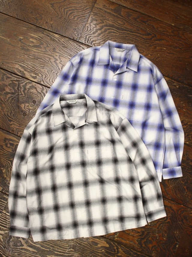 COOTIE  「Ombre Check Open Collar Shirt 」 オンブレチェックシャツ