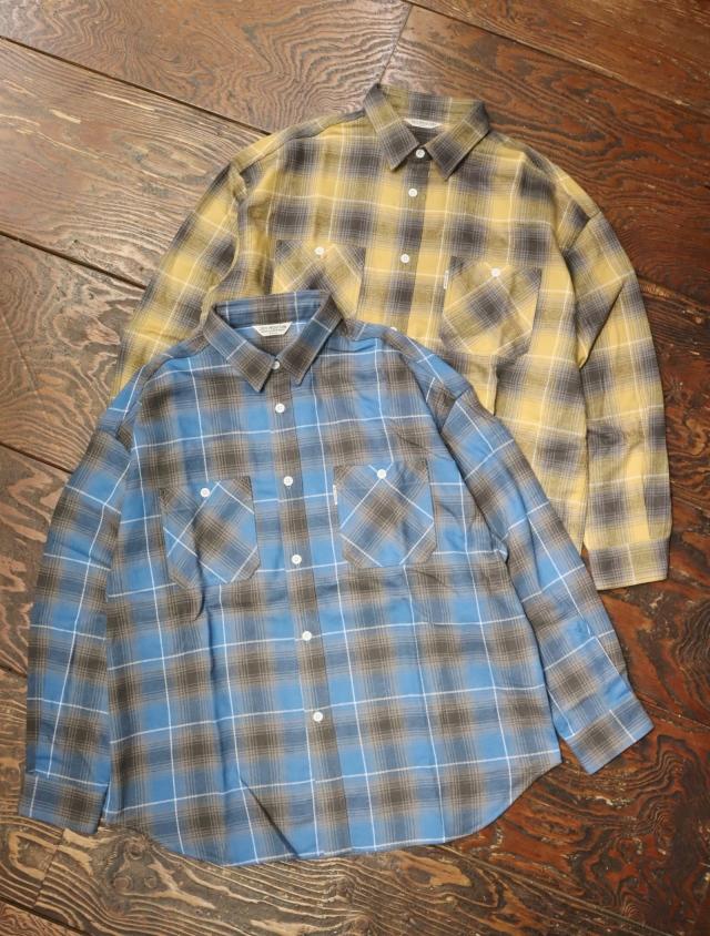 COOTIE  「Ombre Nel Check Work Shirt 」 レギュラーカラーチェックシャツ