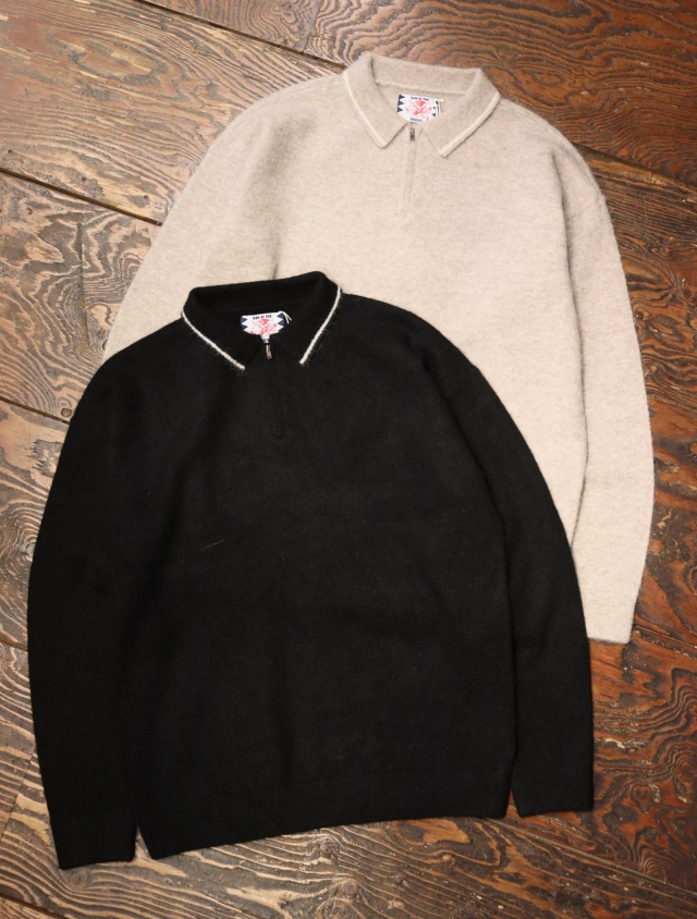 SON OF THE CHEESE  「Zip Polo」  ロングスリーブ ニットポロシャツ