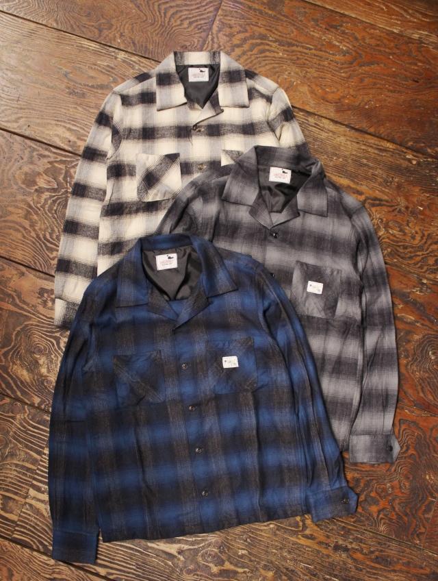 GANGSTERVILLE   「BAD LUCK - L/S SHIRTS」   オープンカラーチェックシャツ
