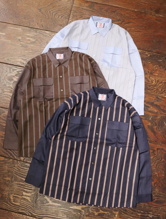 SON OF THE CHEESE  「Stripe Cleric Shirt」  切替ストライプシャツ