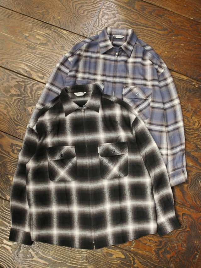 COOTIE  「 Ombre Nel Check Zip Up Shirt 」 オンブレネルチェック ジップシャツ