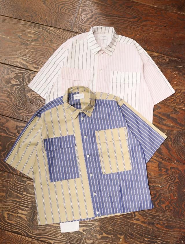 Black Weirdos  「 Crazy Big Pocket Shirt 」 レギュラーカラーストライプシャツ