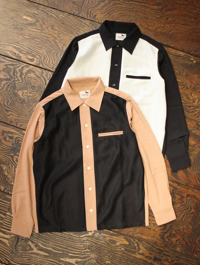 GANGSTERVILLE   「GAMBLER - L/S SHIRTS」   オープンカラー レーヨン&ニットシャツ
