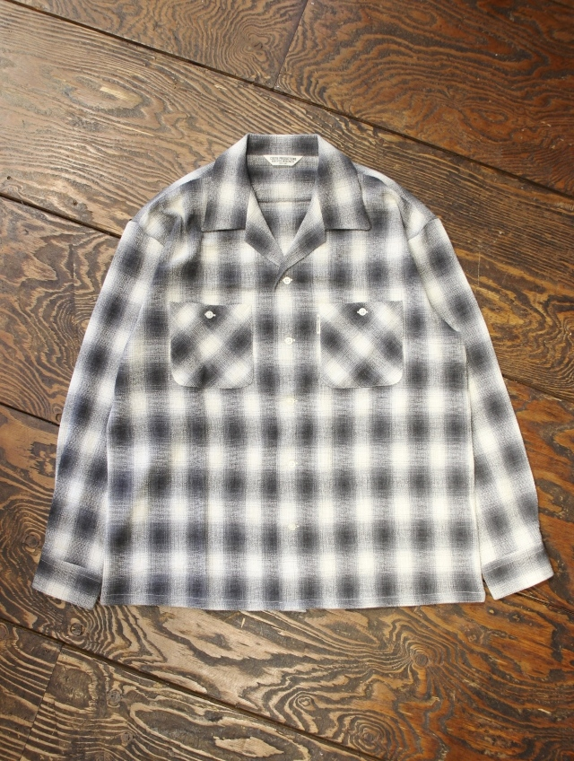 COOTIE  「Ombre Check Open-Neck L/S Shirt」 オンブレチェックシャツ