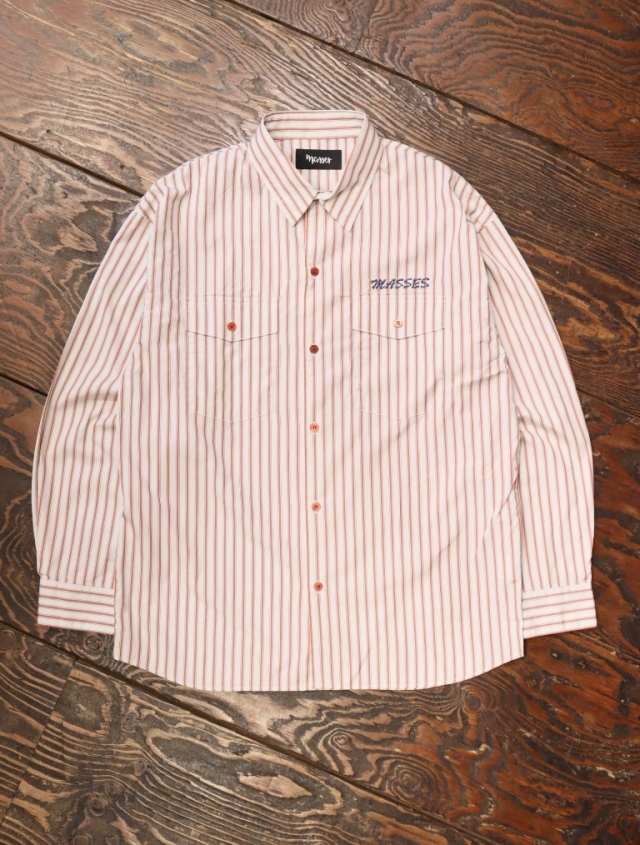 MASSES  「STRIPED SHIRTS W」  レギュラーカラーストライプシャツ