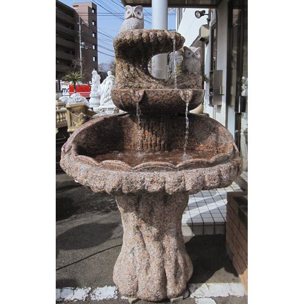 天然御影石彫刻 ふくろう噴水・壁泉 開運招福のシンボルフクロウの噴水を守り神としてお庭に!【商品番号:m-0166】