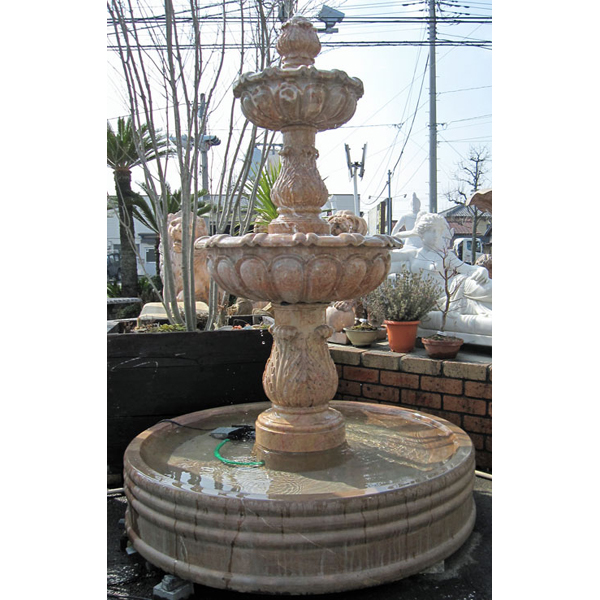 天然大理石彫刻 三段噴水【商品番号:m-00198】