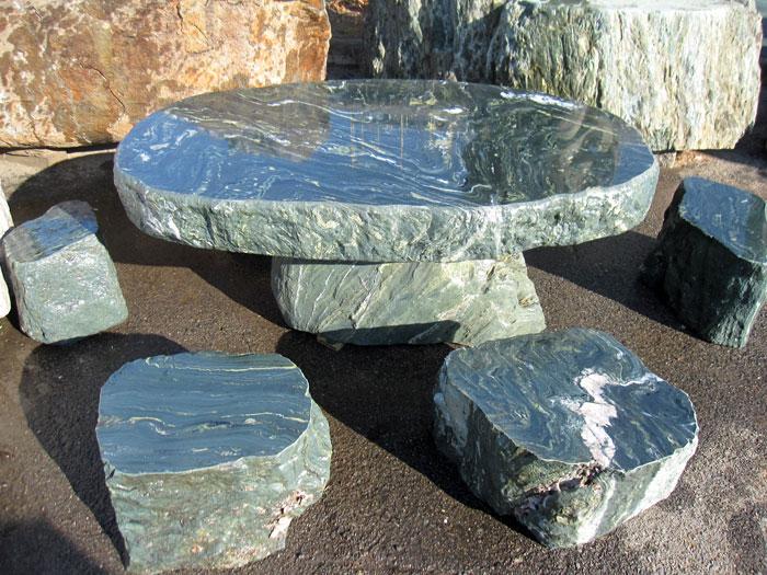 青石テーブル・イス