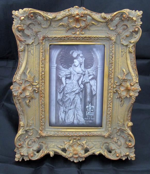 アンティーク風 木製 ゴールド フォトフレーム 写真立て 額縁 立て掛け式 スタンド 金 【送料無料】 未使用