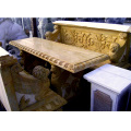 天然大理石彫刻 ライオンテーブル背付ベンチセット  【商品番号:m-0010】