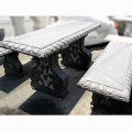 天然御影石彫刻 テーブル・ベンチセット  【※商品番号:m-0012】