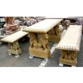 天然大理石彫刻 ライオン角テーブル・ベンチセット 【※商品番号:m-0015】
