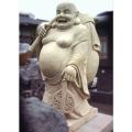 天然砂岩彫刻 七福神 布袋様 【商品番号:m-0044】