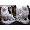 天然大理石彫刻 ライオン・ペア 【商品番号:m-0052】