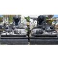 天然黒石彫刻 ライオン・ペア 【商品番号:m-0053】