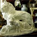 天然大理石彫刻 ライオンファミリー 【商品番号:m-0054】