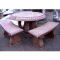 天然御影石彫刻 丸テーブル・ベンチ3脚セット  【※商品番号:m-0101】
