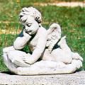 イタリア製子供像(ガーデン オーナメント・石像) エンゼル(読書) 【※商品番号:m-pu8001】
