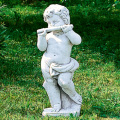イタリア製子供像(ガーデン オーナメント・石像) 子供の楽団(小)フルート 【※商品番号:m-pu0106】