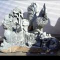 鶏親子 天然石 彫刻 御影石 庭園 置物 オブジェ 和風 庭 日本庭園
