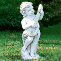 イタリア製子供像(ガーデン オーナメント) 子供の楽団(小)リュート 【※商品番号:m-pu0109】
